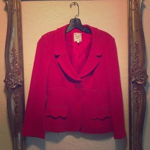 Nanette Lepore Red Daisy Button Knit Blazer